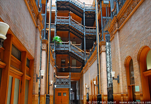 Atrium of the Bradbury Building, downtown Los Angeles